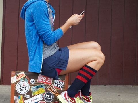 Human leg, Knee, Calf, Street fashion, Bag, Electric blue, Thigh, Foot, Sock, Ankle,