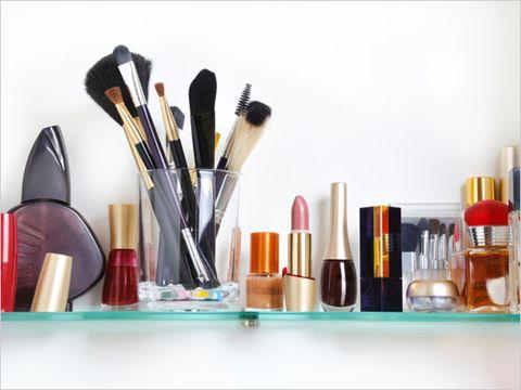 Makeup on a shelf