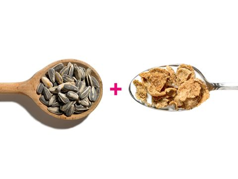 Sunflower seeds and whole grain cereal