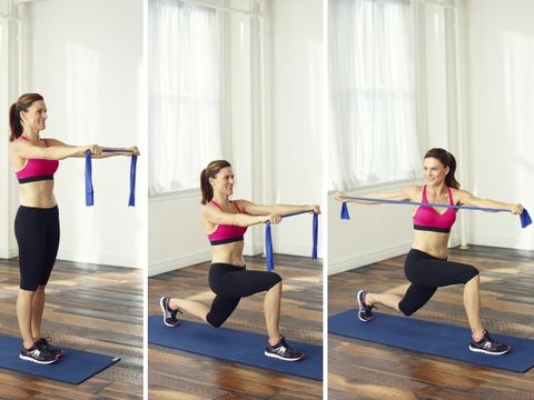 2. Reverse Lunge with Twist & Pull