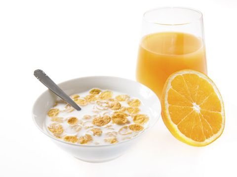 Use a small glass for your juice and a small bowl for your cereal.