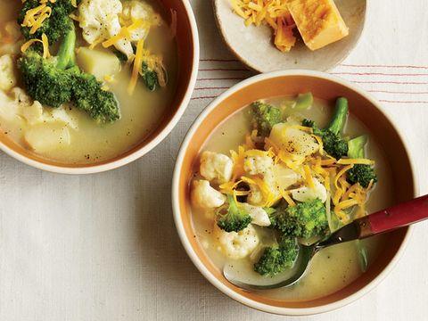 Broccoli and Cauliflower Cheddar Soup