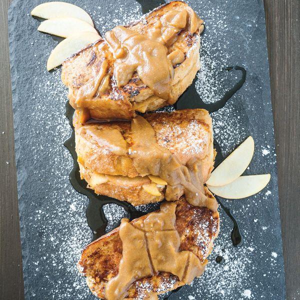 Best Easy Vegan Recipes - Caramel Apple Stuffed French Toast | Homemade Recipes http://homemaderecipes.com/course/breakfast-brunch/vegan-recipes
