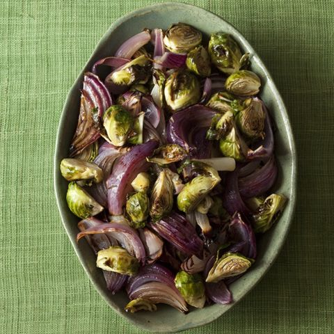 Roasted Brussels Sprouts & Red Onions with Balsamic Vinegar