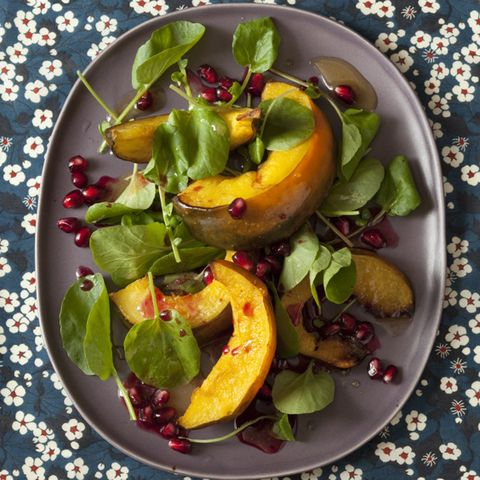 Roasted Acorn Squash Salad with Maple-Pomegranate Seed Vinaigrette