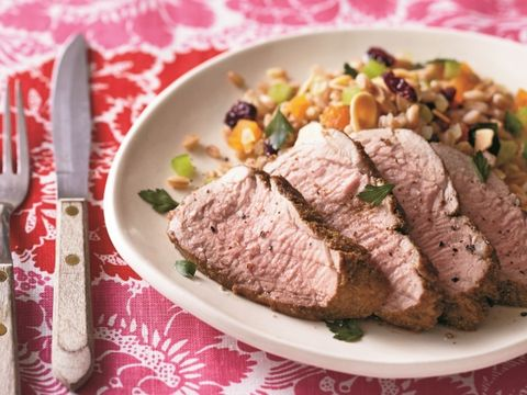 Cumin-Rubbed Pork with Jeweled Grain Pilaf