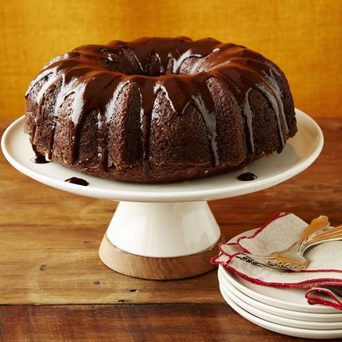 Zucchini-Walnut Bundt Cake with Chocolate Glaze