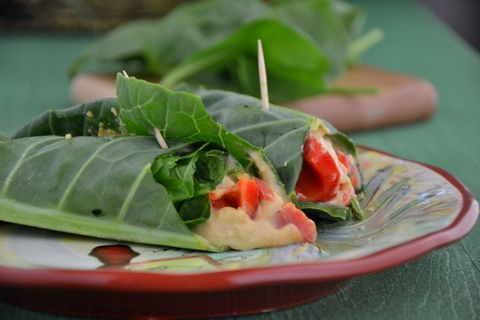 Hummus & Red Bell Pepper Stuffed Collard Wraps