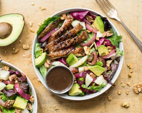 Walnut, Avocado & Pear Salad with Marinated Portobello Caps & Red Onion