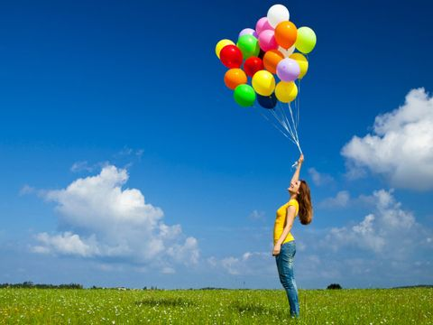 Grass, Green, Balloon, Party supply, Happy, People in nature, Grassland, Plain, Colorfulness, Field,
