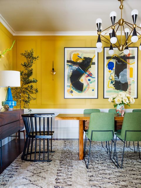 Room, Interior design, Yellow, Furniture, Green, Blue, Turquoise, Property, Ceiling, Living room,