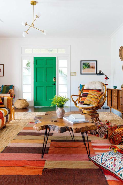Living room, Room, Furniture, Interior design, Green, Orange, Property, Floor, Yellow, Turquoise,