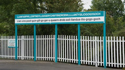 Station sign with longest name in Wales