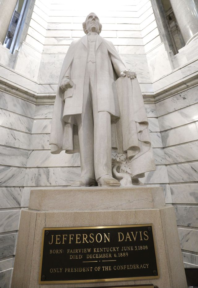 rally held calling for the removal of the jefferson davis statue at the kentucky capitol