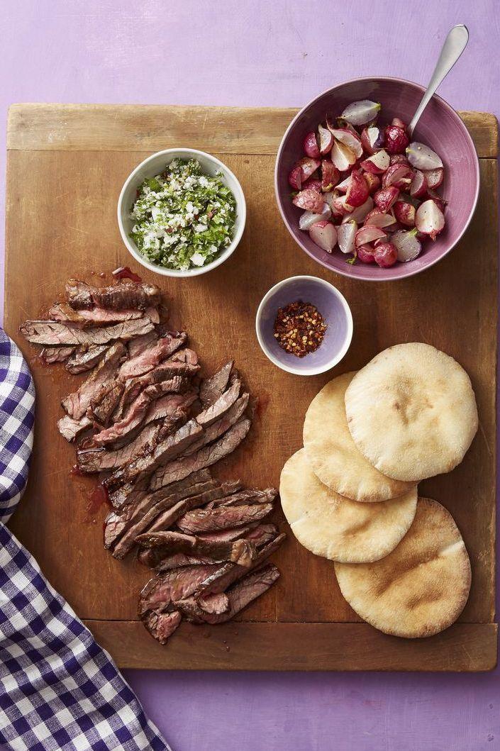 steak and roasted radish pitas with feta salsa