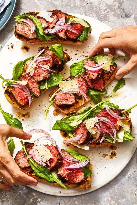 steak sandwich with arugula