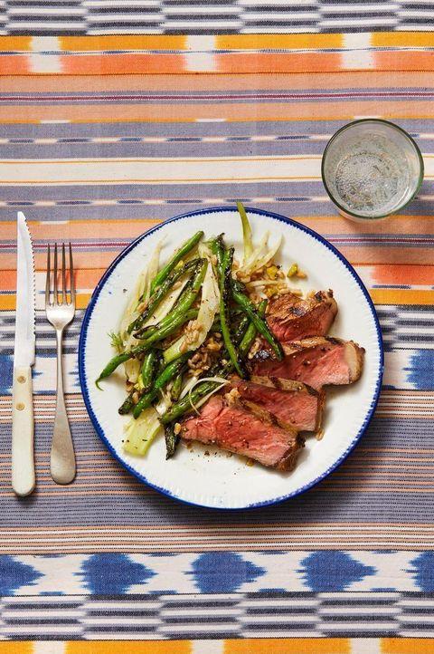 Steak with Grilled Green Beans, Fennel & Farro - Valentine's Day Dinner Ideas