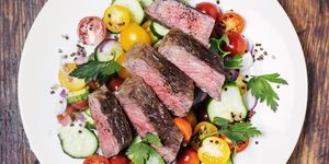Steak with fresh salad