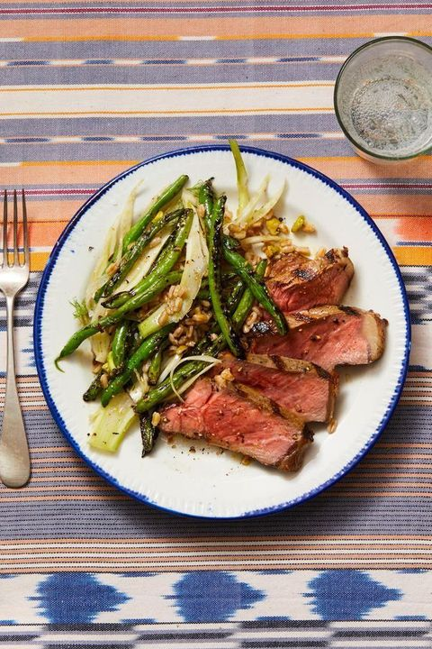 steak with grilled green beans, fennel  farro