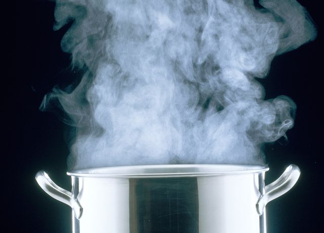 steam rising from cooking pot