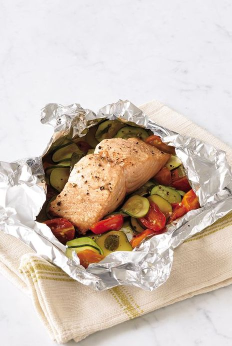 Steamed Salmon and Zucchini, Tomato and Basil