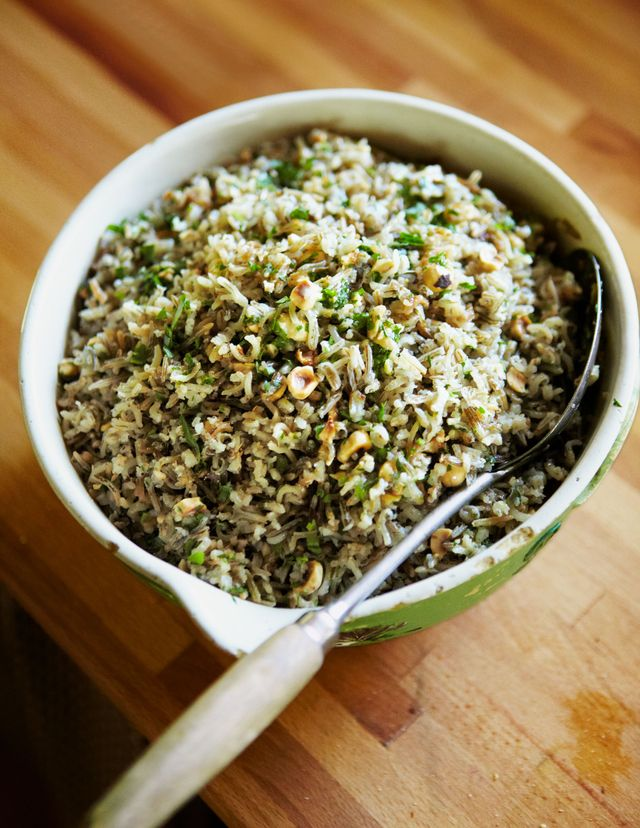 steamed wild rice with toasted hazelnut butter