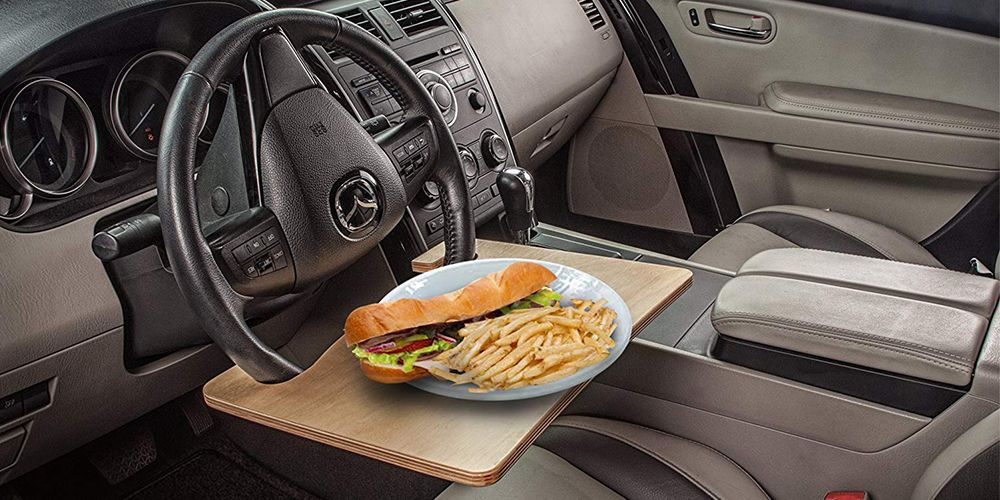 give your car a table with this smart steering wheel tray rh bestproducts com steering wheel desk template steering wheel desk mount