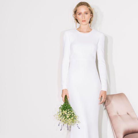 Wedding dress, Gown, Clothing, Dress, White, Bridal clothing, Bride, Bridal party dress, Fashion model, Shoulder,