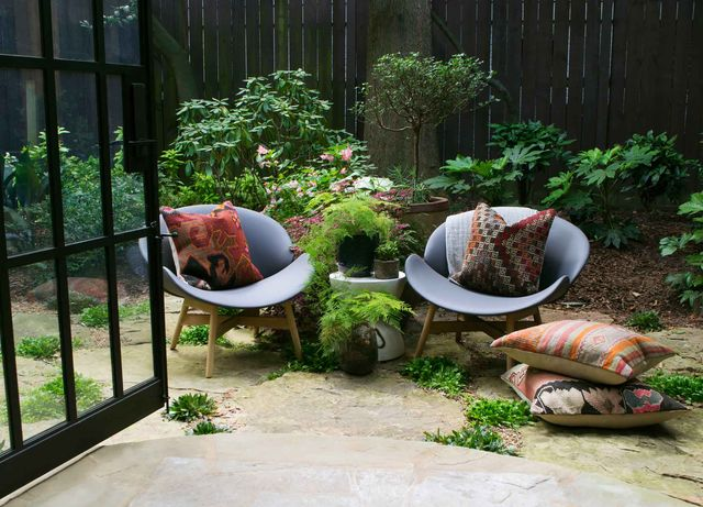 two chairs in a yard