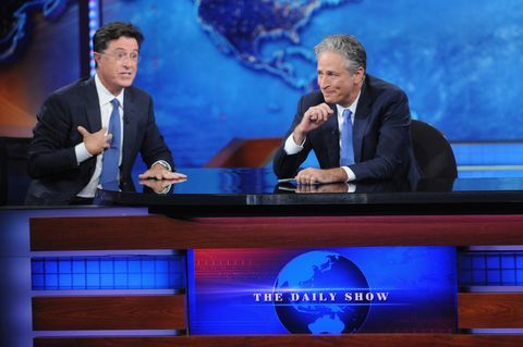 stephen colbert and jon stewart on the daily show in 2015