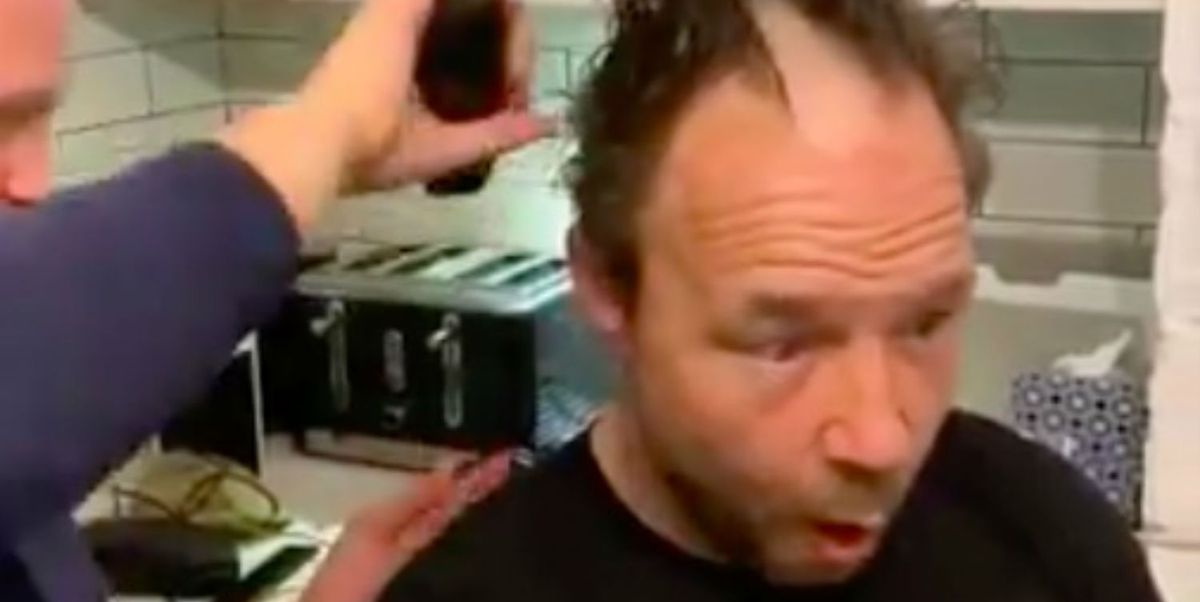 Line of Duty star Stephen Graham gets hair completely shaved by son during coronavirus lockdown