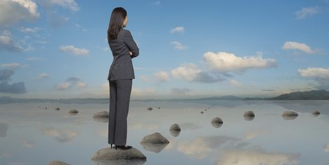 Woman on stepping stones making a choice - your no fuss guide to investment