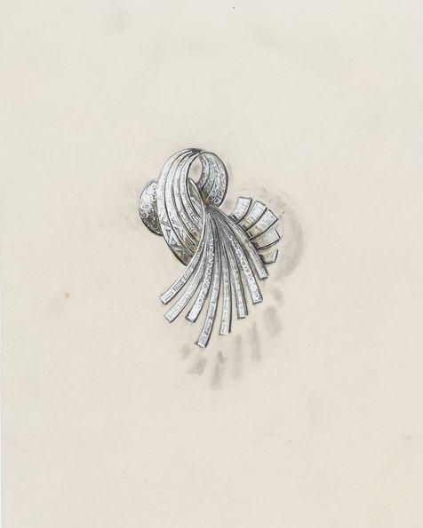 ピエール・ステルレ ショーメのために描いたブローチのデッサン