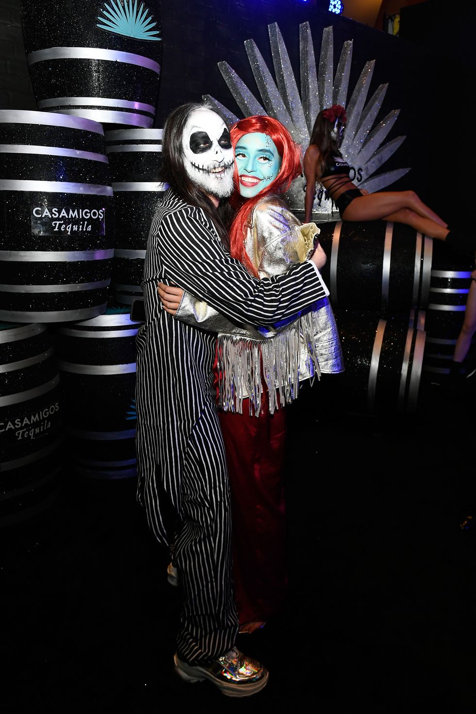 Steve Aoki and Nicole Zimmerman - Jack Skellington and Sally Musician Steve Aoki and actress Nicole Zimmerman brought Halloween classic The Nightmare Before Christmas to life at the 2018 Casamigos Halloween party, dressed as Jack Skellington and Sally.