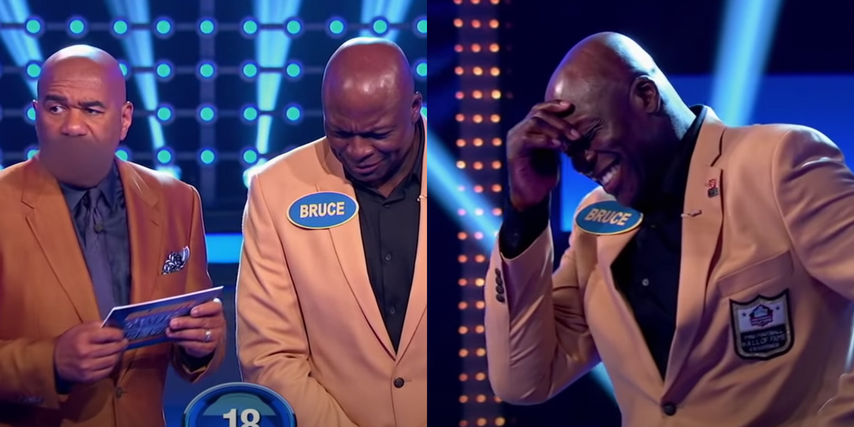 """Watch Steve Harvey's WTF Reaction to Bruce Smith's Raunchy """"Family Feud"""" Answer"""