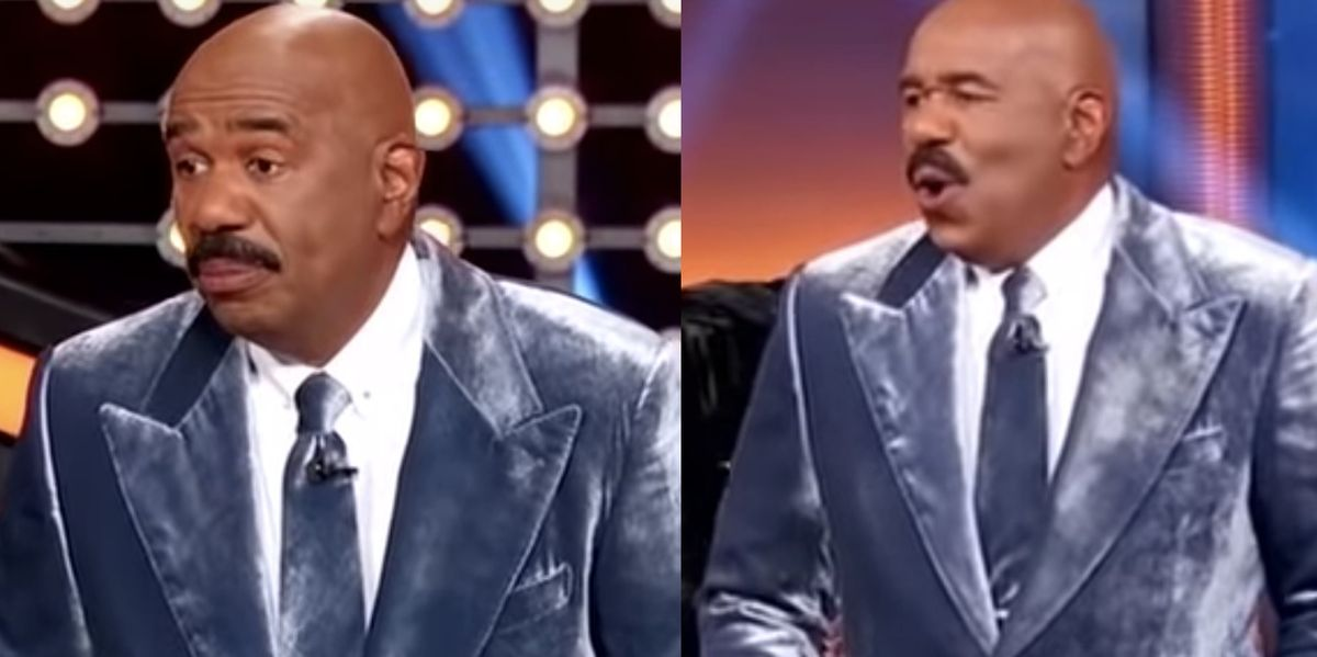 """Steve Harvey Got Really """"Embarrassed"""" During a Recent Round of 'Celebrity Family Feud'"""