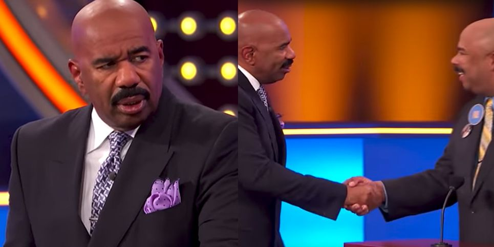 Steve Harvey Had an Epic Reaction to Meeting His Doppelgänger on 'Family Feud'