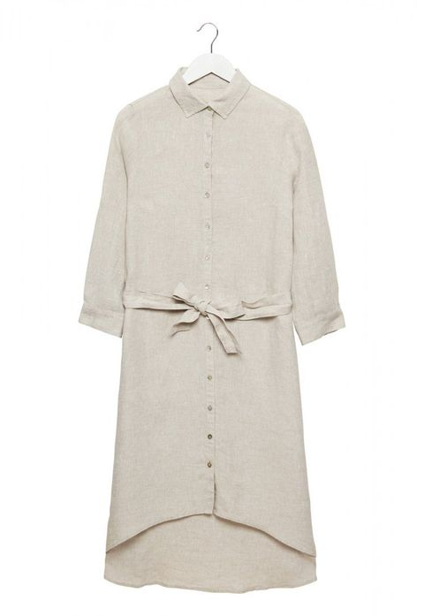 Clothing, White, Sleeve, Outerwear, Beige, Day dress, Dress, Collar, Robe, Coat,