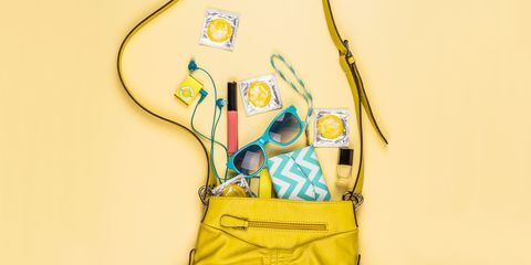 Yellow, Bag, Shoulder bag, Luggage and bags, Sunglasses, Strap, Wire, Cable, Scissors, Zipper,