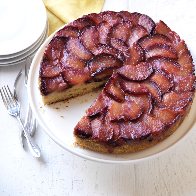 sticky plum upside down cake
