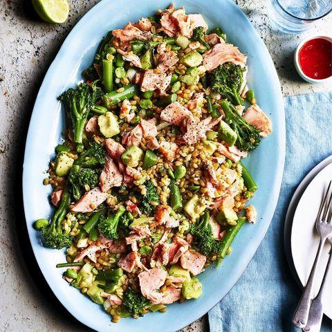 salmon freekah salad