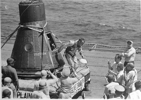 Shepard Emerges From Mercury Capsule