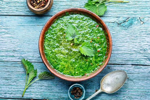Green, Leaf, Ingredient, Kitchen utensil, Cutlery, Dishware, Serveware, Spoon, Herb, Fines herbes,