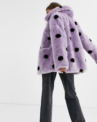 Clothing, Fur, Outerwear, Purple, Violet, Coat, Pink, Pattern, Polka dot, Design,
