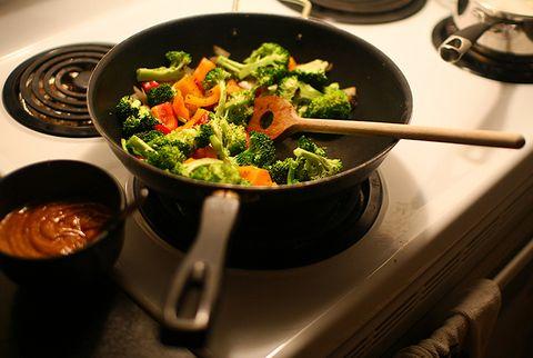 stir-frying vegetables