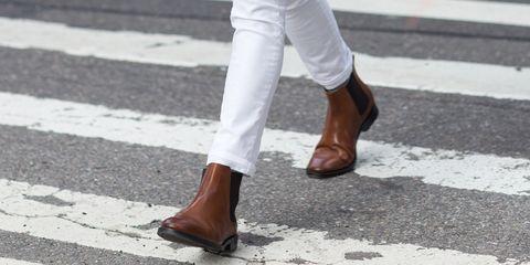 Footwear, White, Street fashion, Shoe, Boot, Human leg, Brown, Ankle, Knee-high boot, Leg,