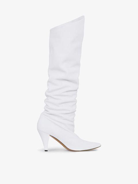 super popolare 10e3b f460b Stivali alti in pelle bianchi alla London Fashion Week 2019