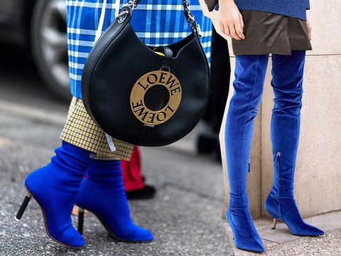 Blue, Jeans, Street fashion, Footwear, Cobalt blue, Denim, Leg, Electric blue, Plaid, Fashion,