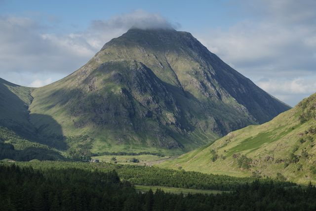 stob na broige mountain rises over dalness estate, glen etive, highland, scotland