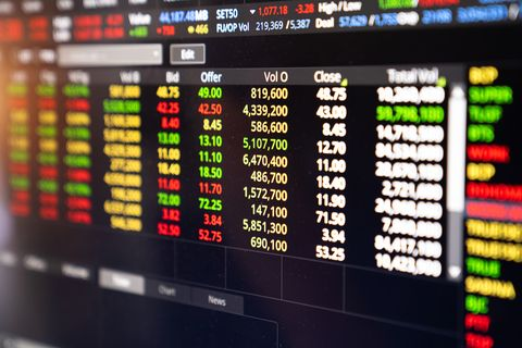 stock information show in screen computer,stock market